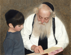 Rebbe and Boy: Judaica Painting, Narrative Portrait Painting, Judaica Fine Art