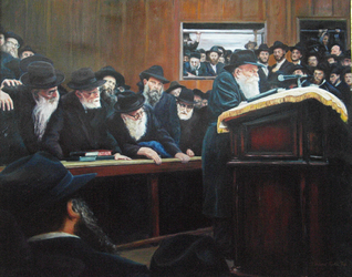 Lubavitcher Rebbe: Judaica painting, PORTRAIT NARRATIVE,judaica art, Israeli art, Jewish art, paintings of Israel, Jewish fine art, bar mitzvah, bat mitzvah, jewish gift, jewish gifts, judaica gifts, jewish fine arts
