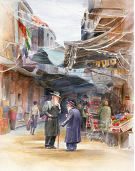 The Market Place Mea Shaarim: Judaica painting, ISRAELI PAINTING,SCENE,judaica art, Israeli art, Jewish art, paintings of Israel, Jewish fine art, bar mitzvah, bat mitzvah, jewish gift, jewish gifts, judaica gifts, jewish fine arts